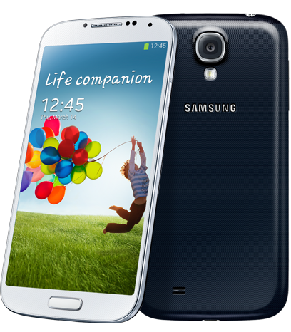 Samsung Galaxy S4 Smartphone in White and Black.