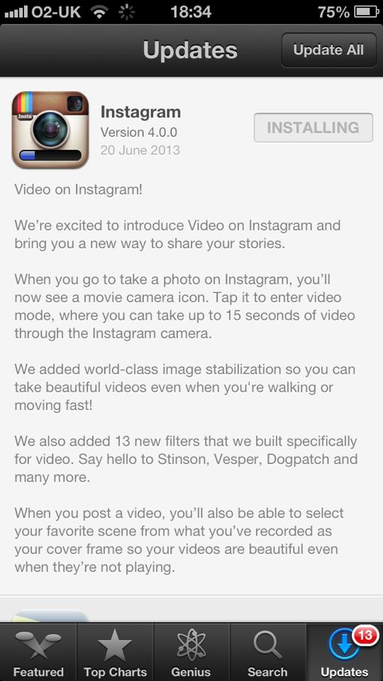 Instragram iOS App Update
